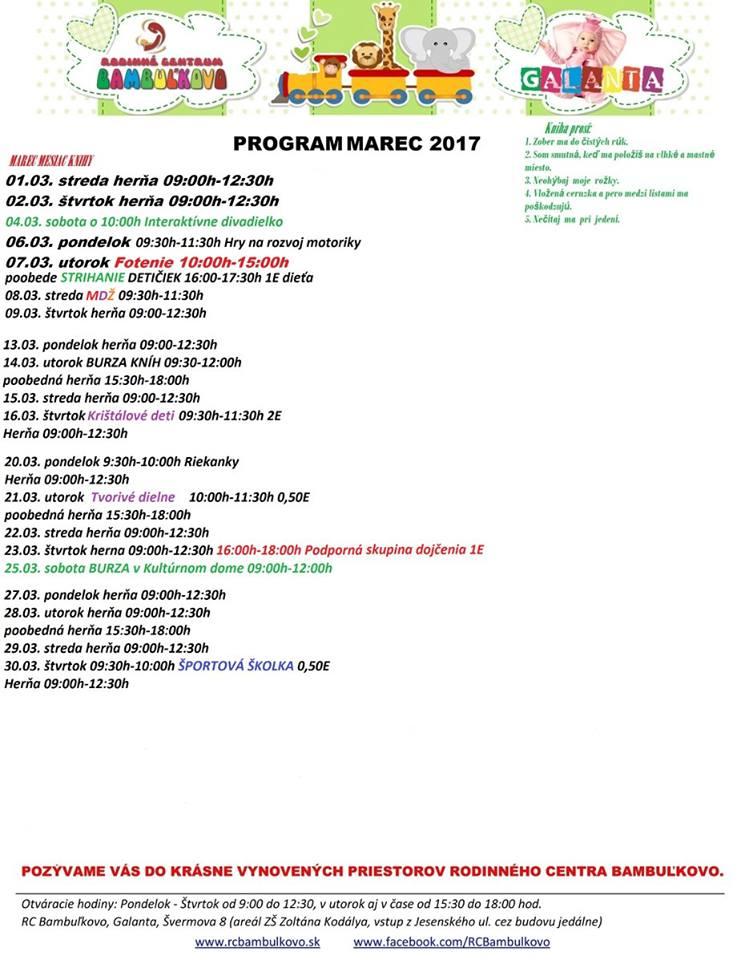Program, marec 2017